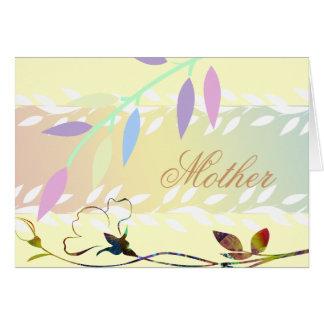 Suavemente hojas del blanco tarjeta de felicitación