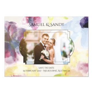 Suavidad colorida de la foto del boda de la invitación 12,7 x 17,8 cm