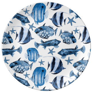 Subacuático Plato De Porcelana