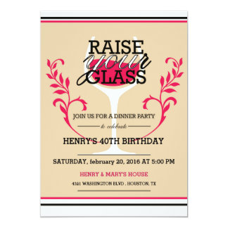 Sube su vidrio - invitación adulta del cumpleaños