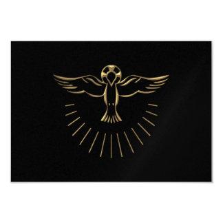"""Subida """"tridimensional"""" de oro del Espíritu Santo Invitación 8,9 X 12,7 Cm"""