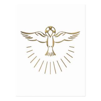 Subida tridimensional de oro del Espíritu Santo Postal