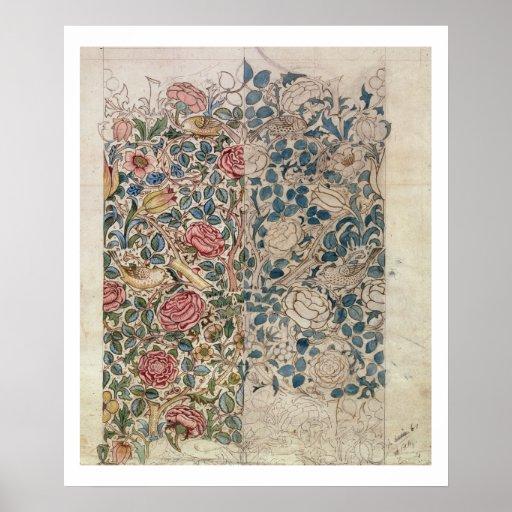 """""""Subió"""" diseño del papel pintado (el lápiz y w/c e Impresiones"""