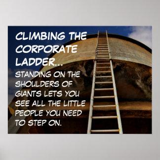 Subir la escalera corporativa da la perspectiva L Póster