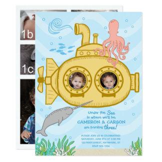 Submarino y mar - 3ro invitación del cumpleaños de