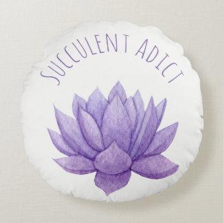 Succulent púrpura de la acuarela cojín redondo