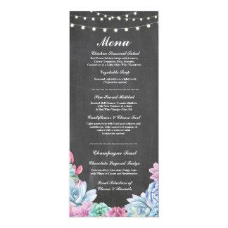 Succulents rústicos de la tiza de la recepción invitación 10,1 x 23,5 cm
