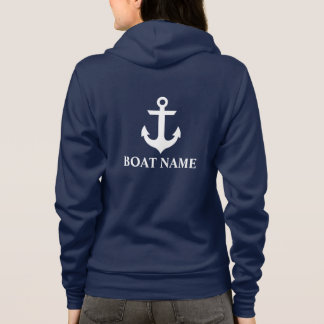 Sudadera Ancla náutica W azul del nombre del barco