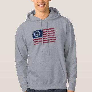 Sudadera Bandera americana apenada y símbolo de paz