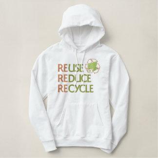 Sudadera Bordada Con Capucha La reutilización reduce recicla