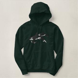 Sudadera Bordada Con Capucha Orcas