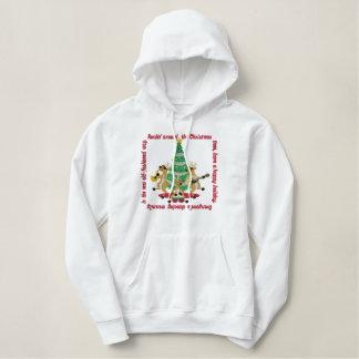 Sudadera Bordada Con Capucha Rockin alrededor del árbol de navidad