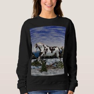 Sudadera Castaña y caballo blanco de la pintura en nieve