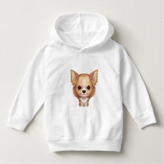 Sudadera Chihuahua beige y blanca de pelo largo