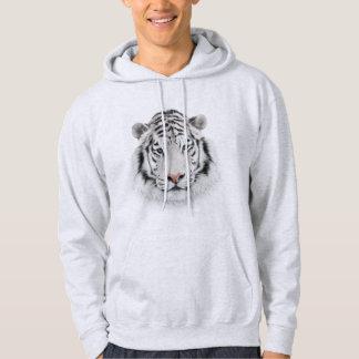 Sudadera con capucha blanca de la cabeza del tigre