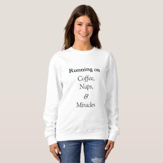 Sudadera Corriendo en crewneck del café, de las siestas y