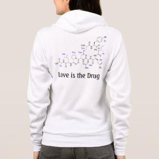Sudadera El amor es la droga - molécula de la oxitocina