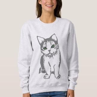Sudadera El gato del blanco gris con jade observa la