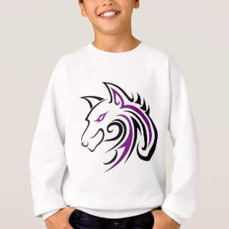 Sudadera Esquema púrpura y negro de la cabeza del lobo