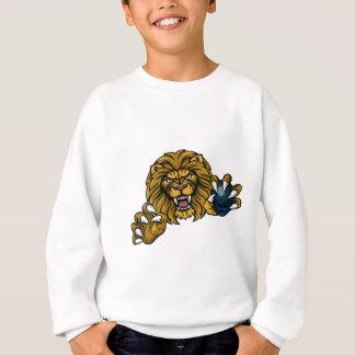Sudadera La bola de bolos del león se divierte la mascota