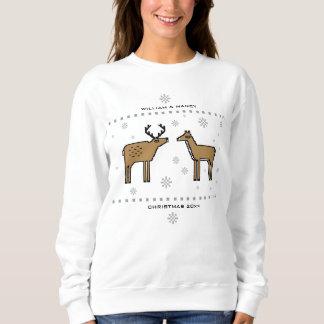 Sudadera Los pares del reno del navidad añaden nombres y