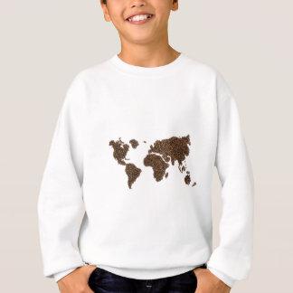 Sudadera Mapa del mundo llenado de los granos de café