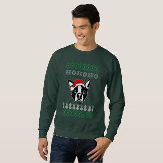Sudadera Navidad feo del perro de Boston Terrier Ho Ho Ho