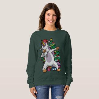 Sudadera Navidad lindo que frota el lenguado del unicornio