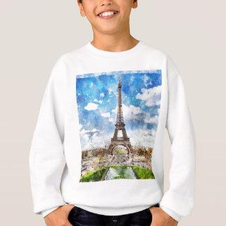 Sudadera Paisaje urbano París, Eiffel de la acuarela hacia