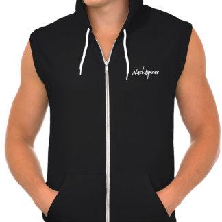 sudadera sin mangas negra con capucha y logo