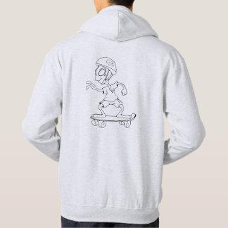 Sudadera Sweat capucha logotipo y alien skateur gris claro