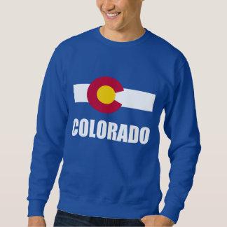 Sudadera Texto blanco de la bandera de Colorado en azul
