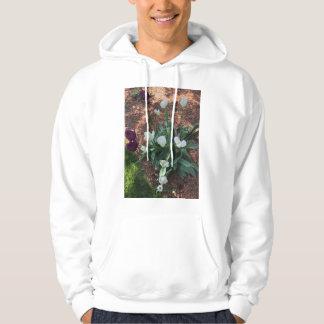 Sudadera Tipo blanco como la nieve flores del tulipán en un