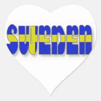 Suecia en letras de la bandera pegatina de corazón personalizadas