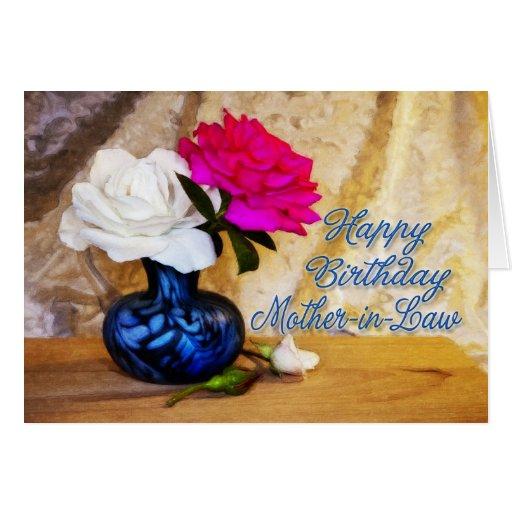Suegra, Feliz Cumpleaños Con Los Rosas Pintados Tarjeta De