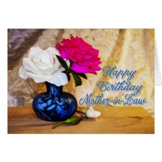 Suegra, feliz cumpleaños con los rosas pintados tarjeta de felicitación