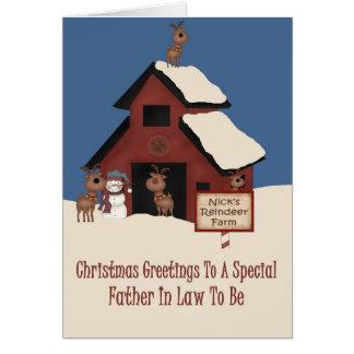Suegro de la granja del reno a ser navidad tarjeta de felicitación