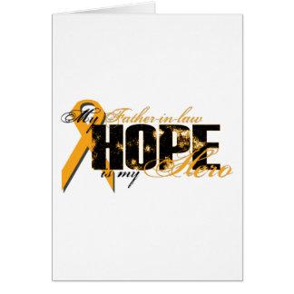Suegro mi héroe - esperanza de la leucemia tarjeta de felicitación