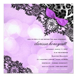 Sueño 311 en leopardo de las luces y violeta del invitación 13,3 cm x 13,3cm