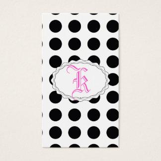 sueño blanco y negro del polkadot tarjeta de negocios