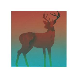 Sueño de los ciervos impresión en madera