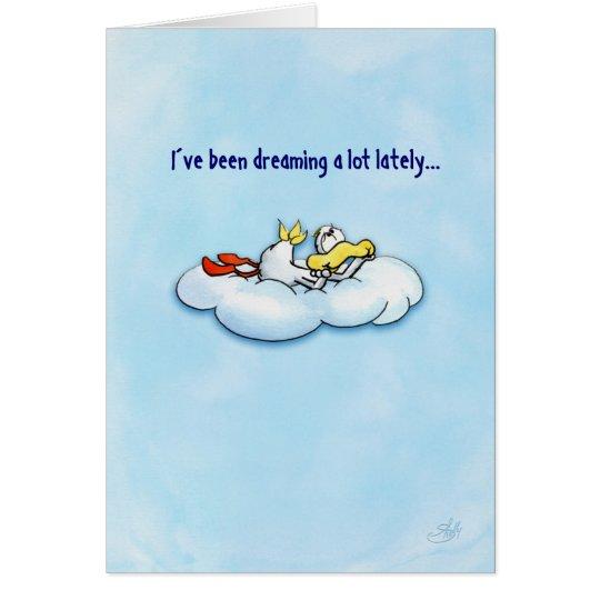 Sueño del pato: ¡el amor es el mejor! tarjeta de felicitación