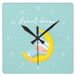 Sueño dulce * elija el color de fondo reloj cuadrado