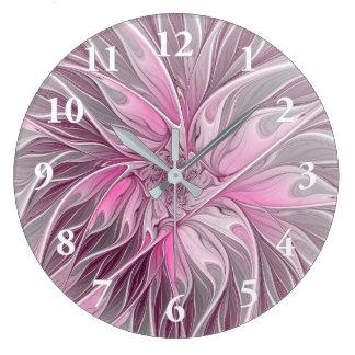Sueño rosado de la flor del fractal, modelo floral reloj redondo grande