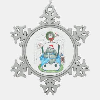 Sueño Santa de la morsa y del iglú del navidad Adorno De Peltre Tipo Copo De Nieve