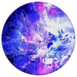Sueños Amethyst de la noche de Yule Plato De Porcelana