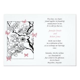 Sueños de la mariposa: Color de rosa polvoriento Invitación 12,7 X 17,8 Cm