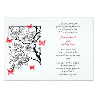 Sueños de la mariposa: Rojo inspirado japonés del Invitación 12,7 X 17,8 Cm