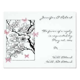 Sueños de la mariposa: Tarjeta color de rosa Invitación 10,8 X 13,9 Cm