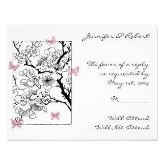 Sueños de la mariposa Tarjeta color de rosa polvo Invitación